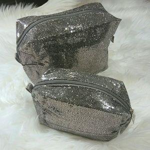 Lancome Silver Glitter Cosmetic/Makeup Bag